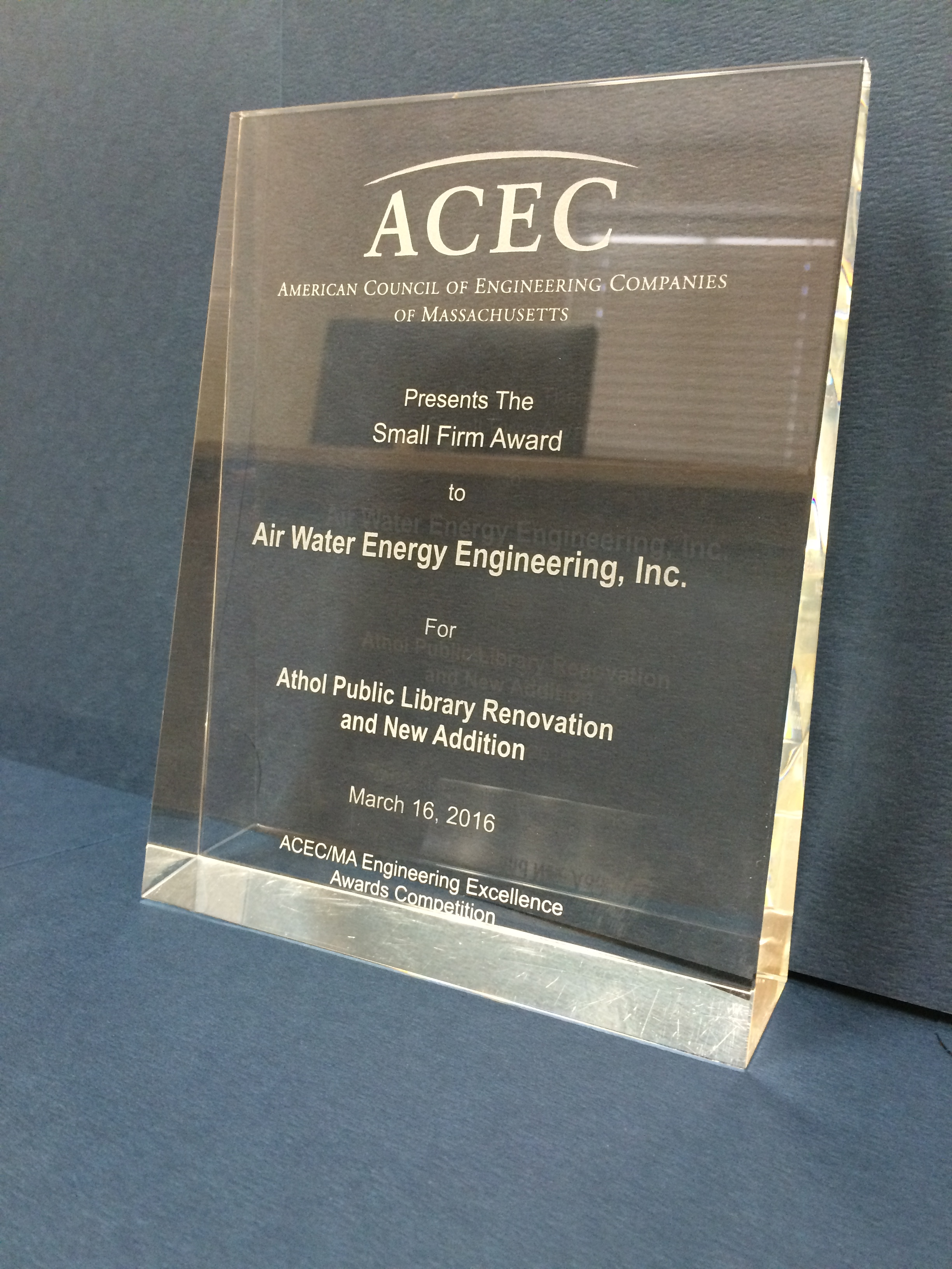 AWE 2016 ACEC Small Firm Award Winner